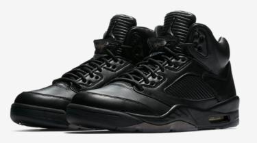 """2017年7月8日(土)9時  ナイキ エアジョーダン 5 プレミアム""""トリプルブラック""""発売(Nike Air Jordan 5 Premium """"Triple Black""""、881432-010)"""